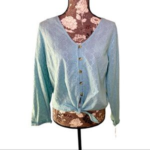Copper Key Juniors Eyelet Tie Waist Turquoise top